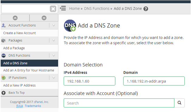 Add a DNS Zone in WHM